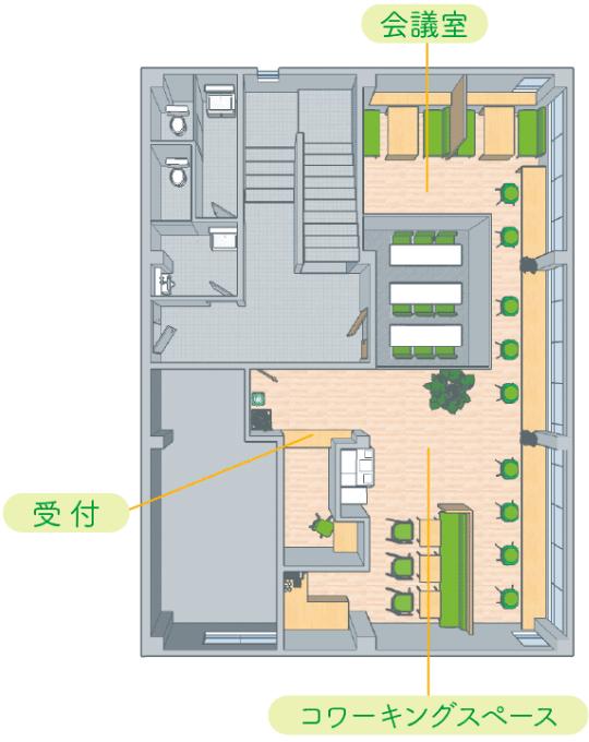 2F / カフェエリアのマップ